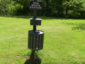 Dog waste stations throughout Doub's Meadow Park