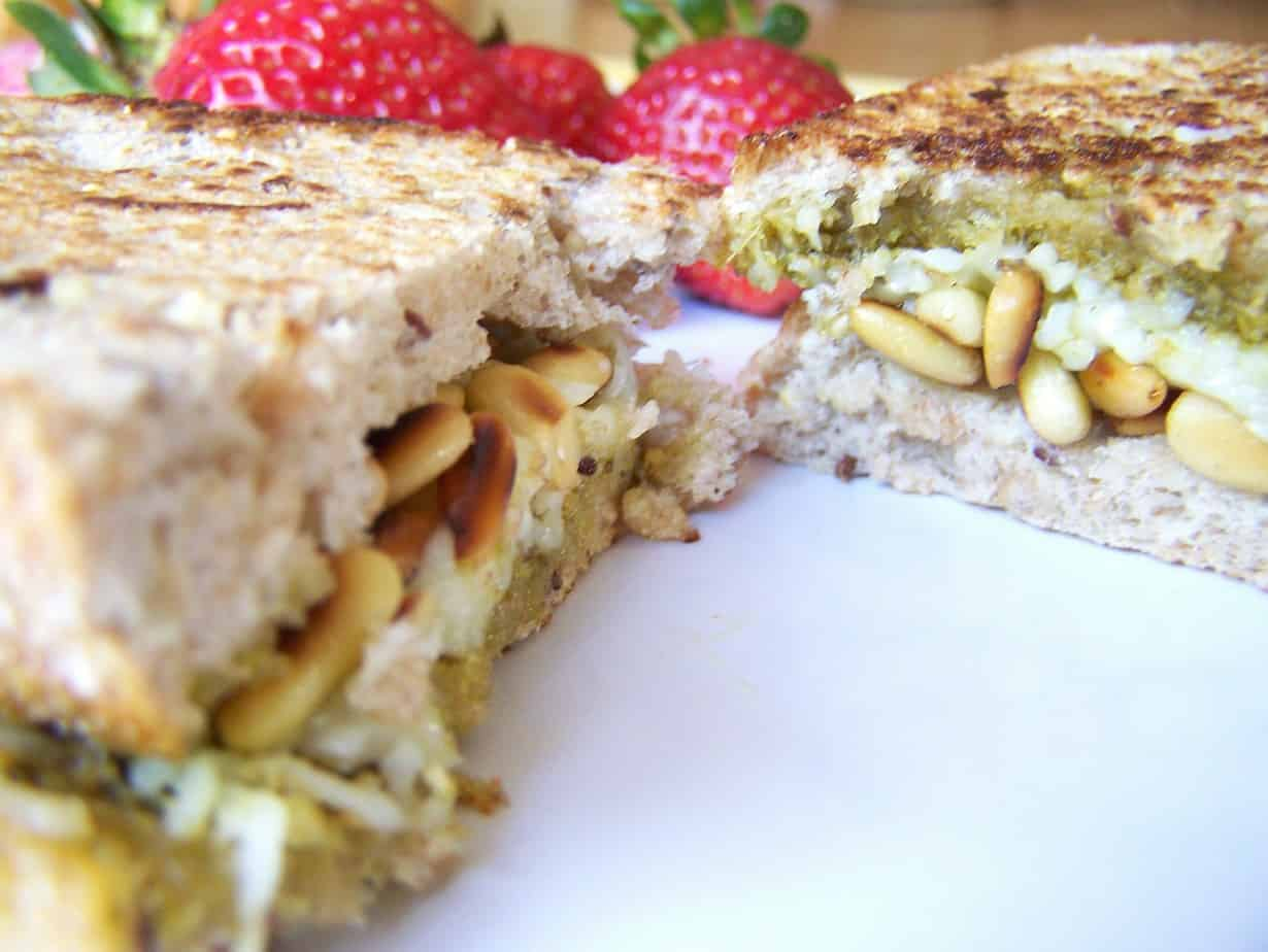 Pesto, Toasted Pine Nut, Mozzarella Panini Recipe – 10 Weight Watchers Points Plus Value