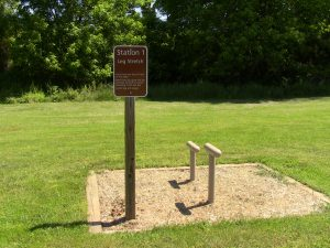 Exercise stations throughout Doubs Meadow Park
