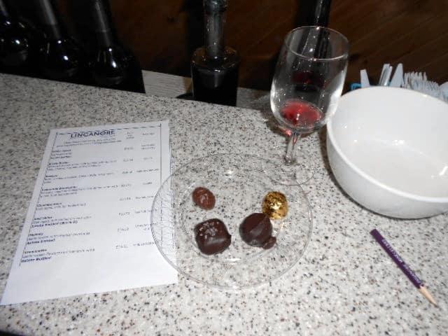 Chocolate and wine pairing at Linganore Winecellars