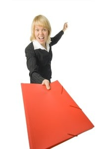 fury business woman with red folder