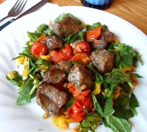 Broiled Lamb Kebabs with Spinach-Lentil Salad – 8 Weight Watchers Points Plus Value