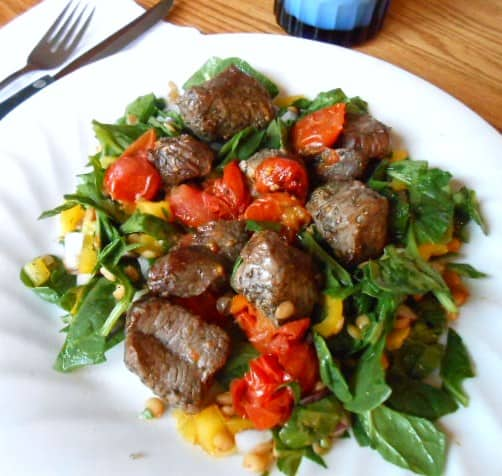 Broiled Lamb Kebabs with Spinach-Lentil Salad - 8 Weight Watchers Points Plus Value
