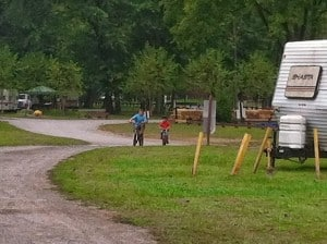 The boys on bikes at Brunswick Family Campground