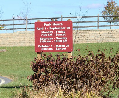urbana park hours sign pic