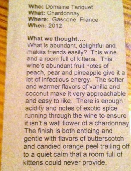 Wine card - description of each wine