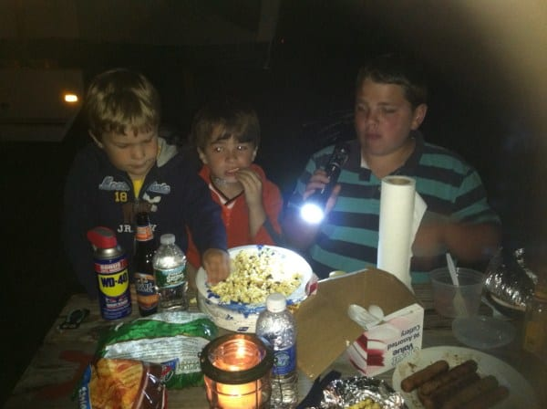 Lanterns and candles are necessary when eating in the dark while camping