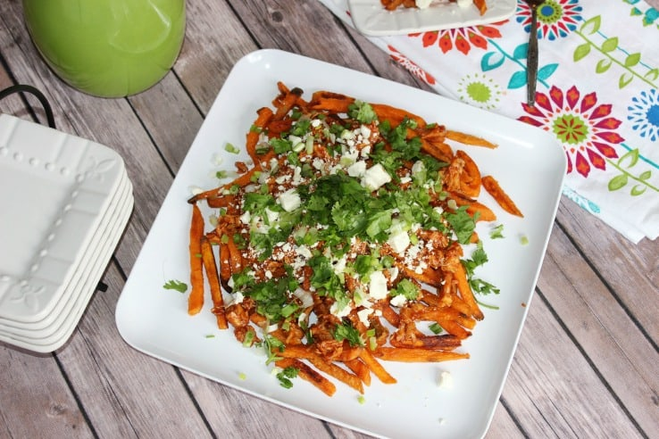 Loaded Sweet Potato Fries with Shredded BBQ Chicken