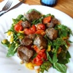 Broiled Lamb Kebabs With Spinach Lentil Salad