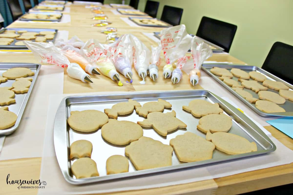 Cookies are prepared in advance and ready to decorate