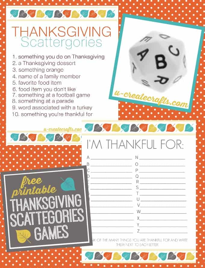 Thanksgiving Scattergories