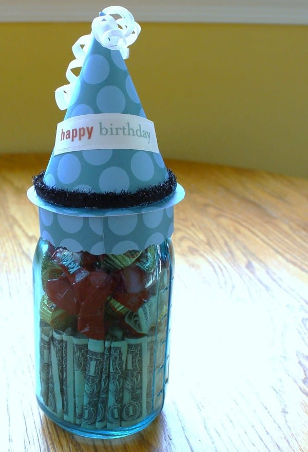 Mason Jar Dollar Bill Birthday Gift
