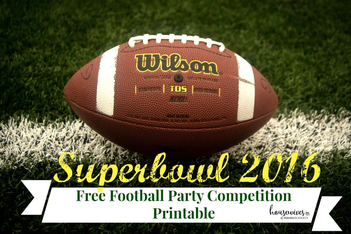 super bowl 2016 free football party competition printable. Black Bedroom Furniture Sets. Home Design Ideas