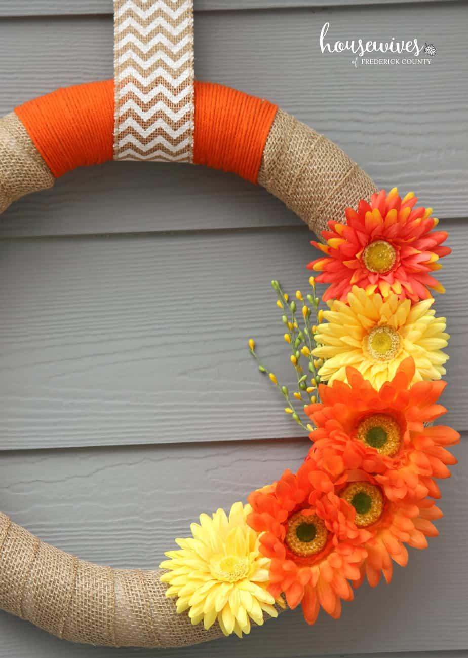 My pretty DIY spring front door wreath