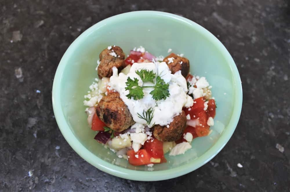 Easy Greek Tzatziki Bowl with Meatballs & Couscous