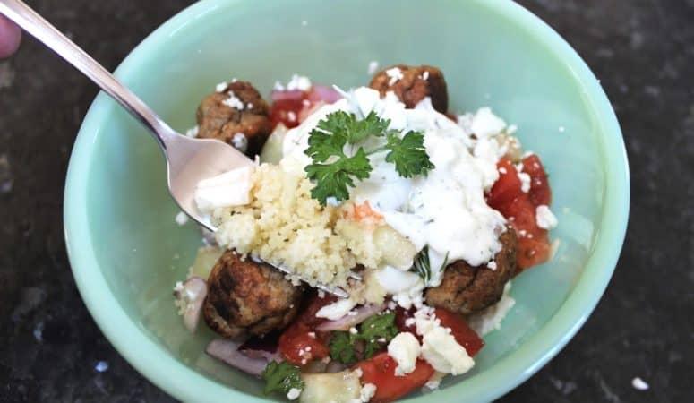 Easy Greek Tzatziki Bowl with Meatballs & Couscous