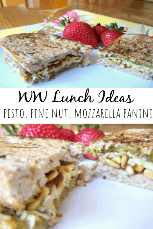 Pesto, Toasted Pine Nut, & Mozzarella Panini Sandwich