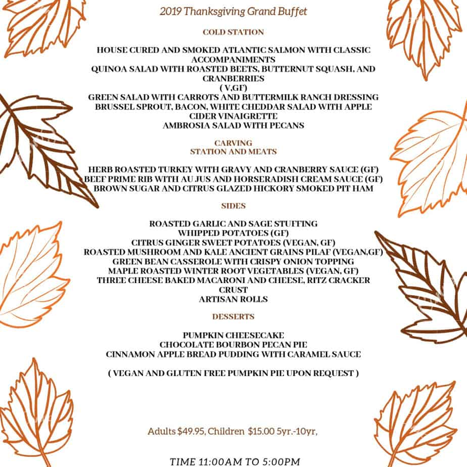 Restaurants Open on Thanksgiving in Frederick Md & Nearby