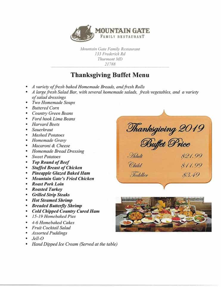 Restaurants Open on Thanksgiving in Frederick Md