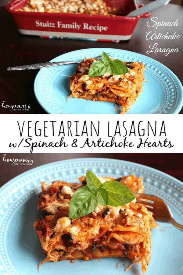 Recipe for Vegetarian Lasagna with Spinach & Artichoke Hearts