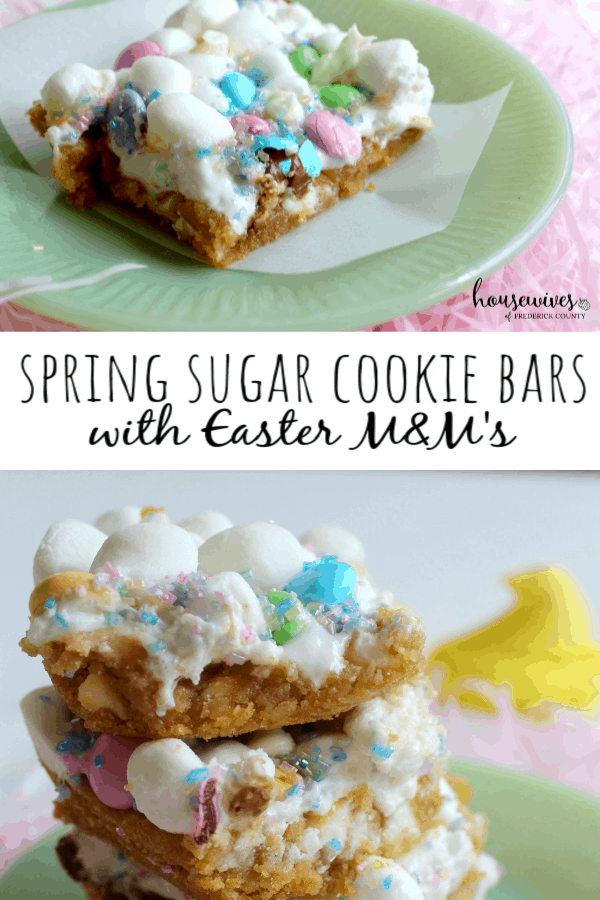 Spring Sugar Cookie Bars with Easter M&M's
