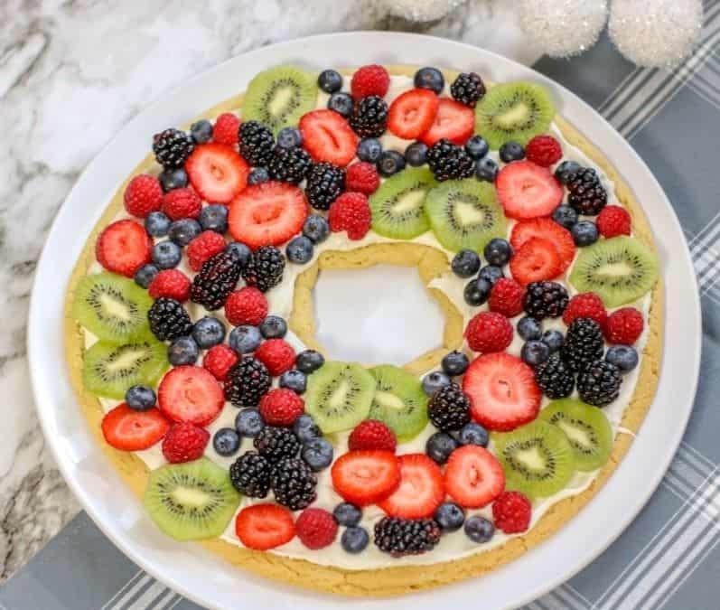 Fruit Pizza Christmas Wreath