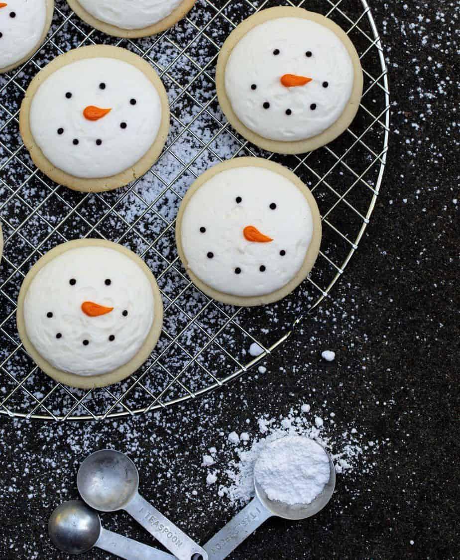 Christmas Snowman Sugar Cookies