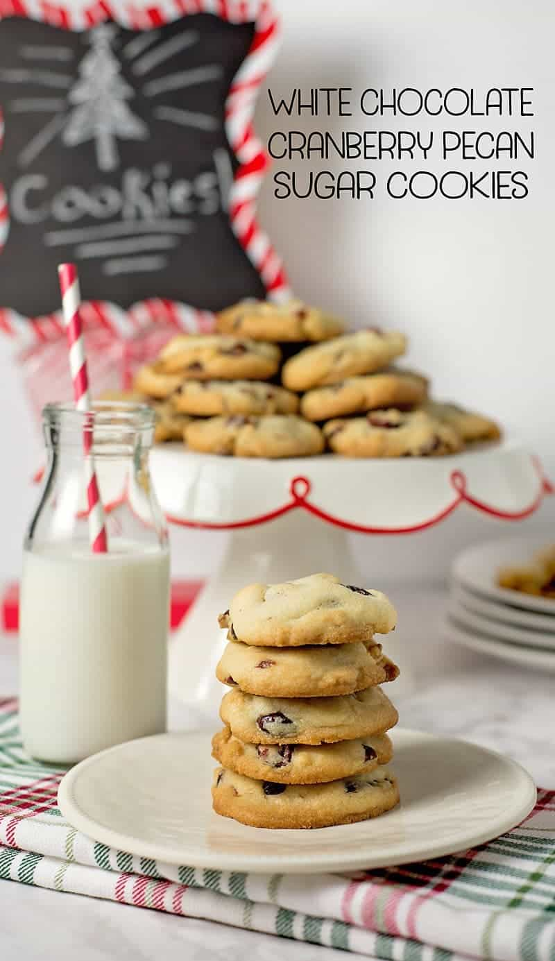 White chocolate cranberry pecan sugar cookies