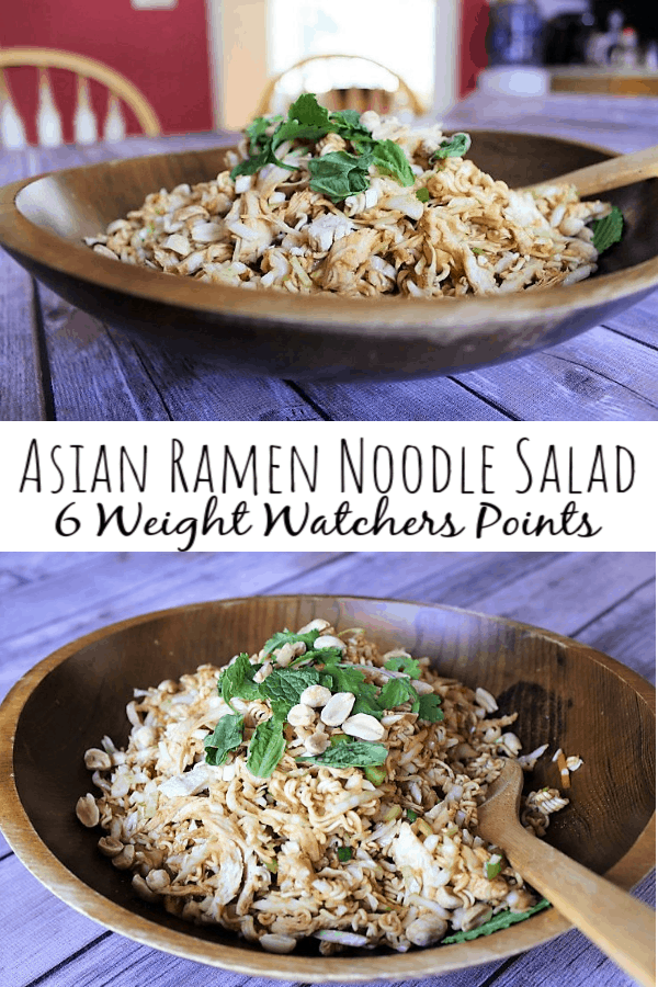 Asian Ramen Noodle Salad with Chicken: 6 Weight Watchers Points