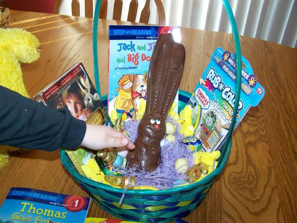 Basket with big chocolate bunny