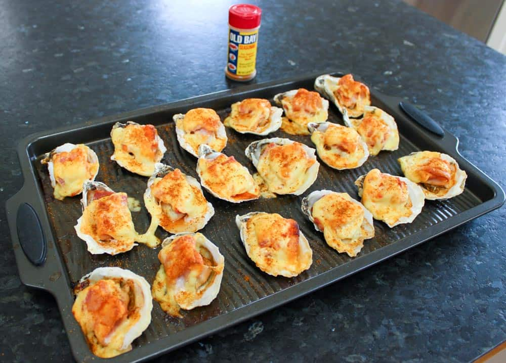 Baked Oysters On The Half Shell With Bacon & Cheese