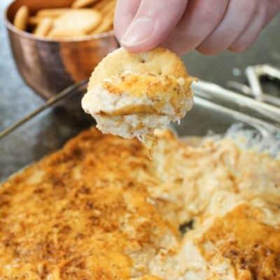 Hot Crab Dip on a Ritz Cracker