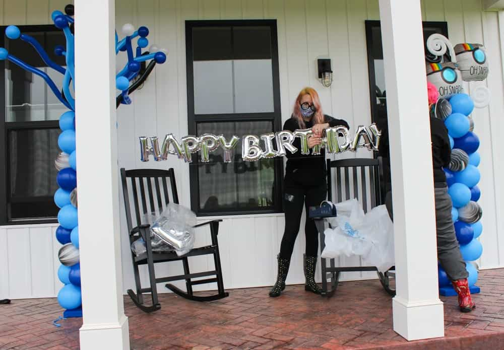 Setting up the birthday surprise
