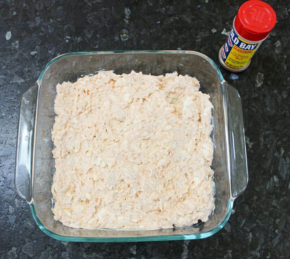 Spread mixture into baking dish