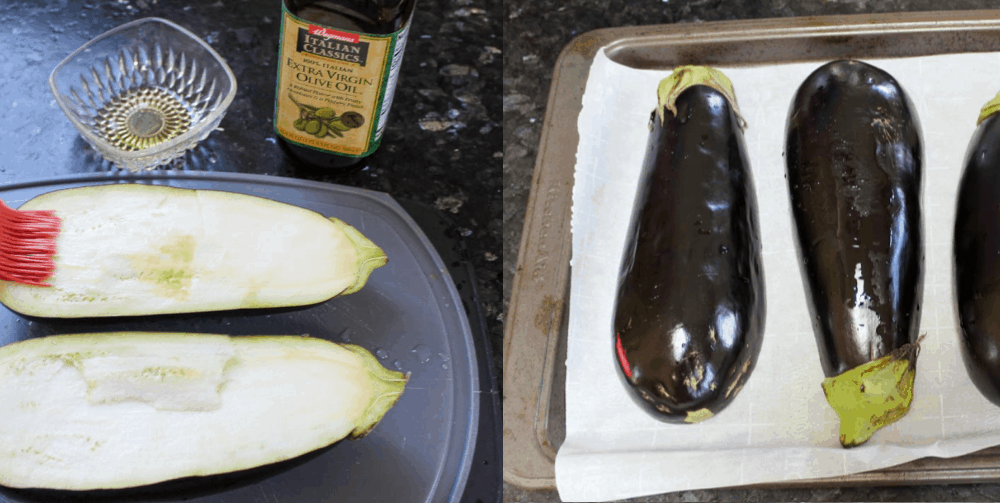 Brush eggplant with olive oil