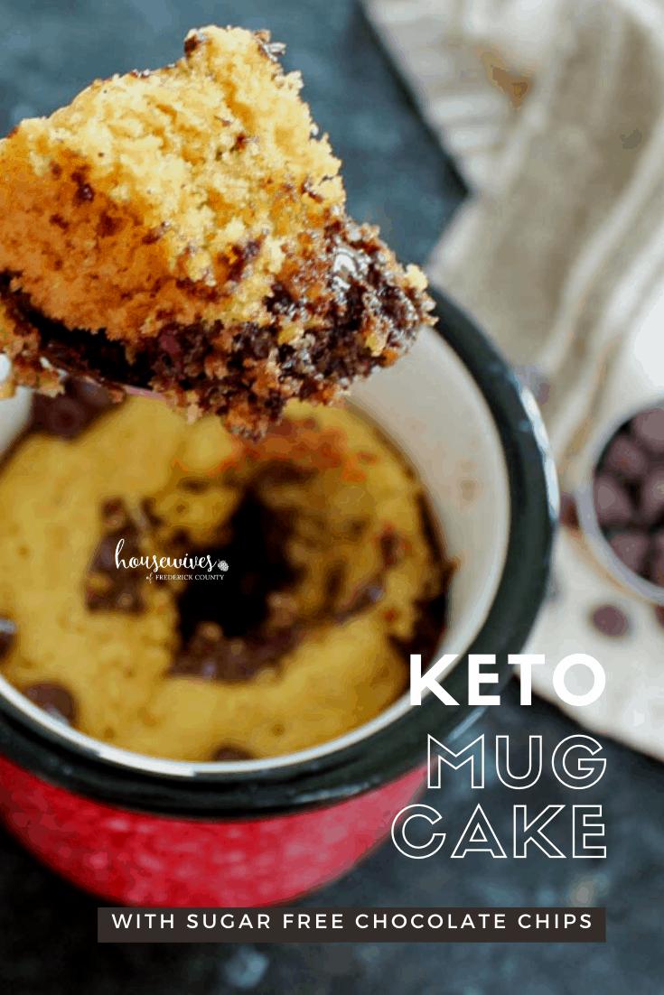 Keto Mug Cake with Sugar Free Chocolate Chips