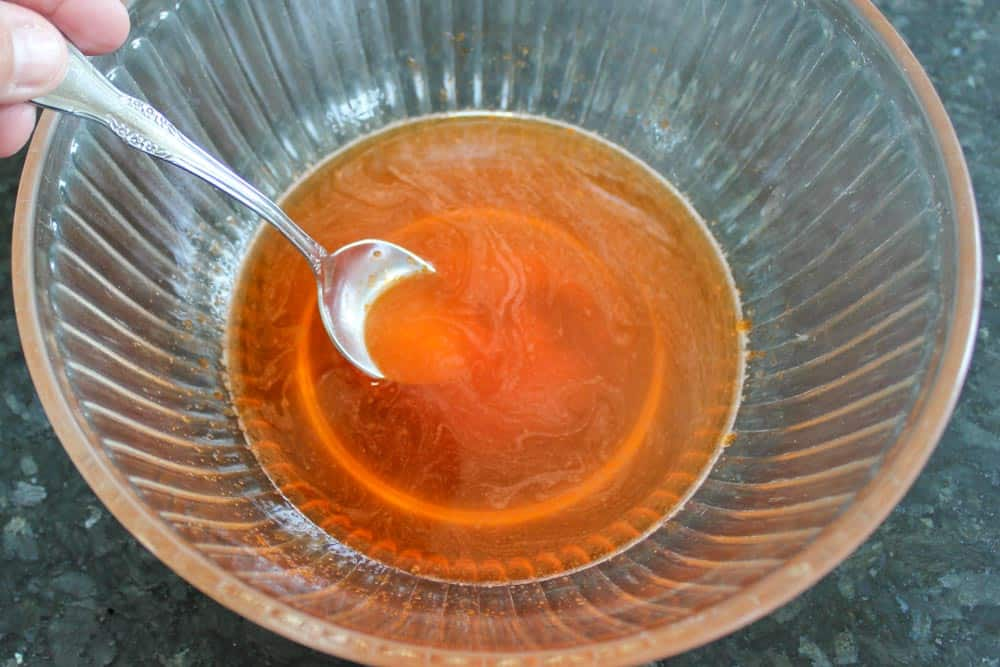 Dissolve sugar-free jello in boiling water