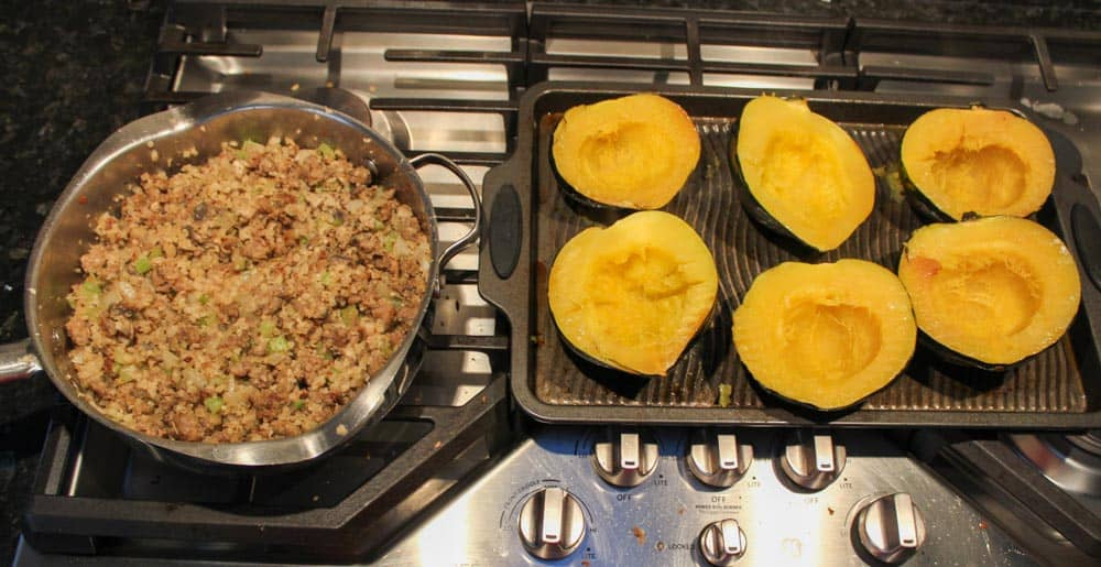 Stuffed Acorn Squash with Cauliflower Rice