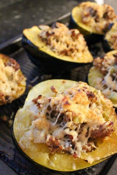 Stuffed Acorn Squash with Cauliflower Rice
