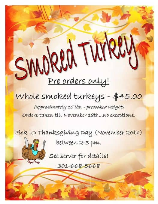 Thanksgiving Dinner To Go in Frederick Md & Nearby