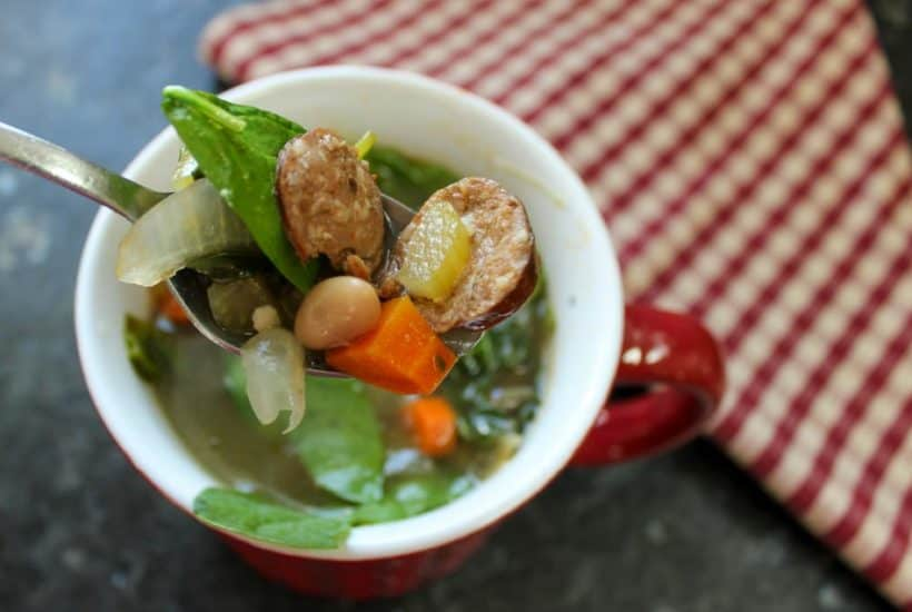 White Bean Soup with Sausage & Fresh Spinach