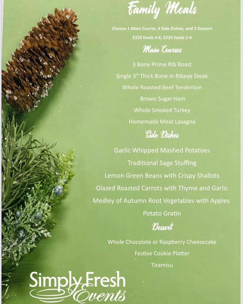 Simply Fresh Events Holiday Meal