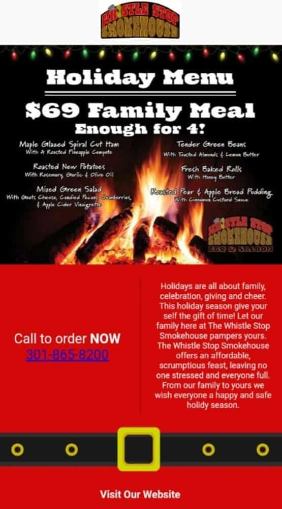 Whistle Stop Smokehouse Holiday Meal