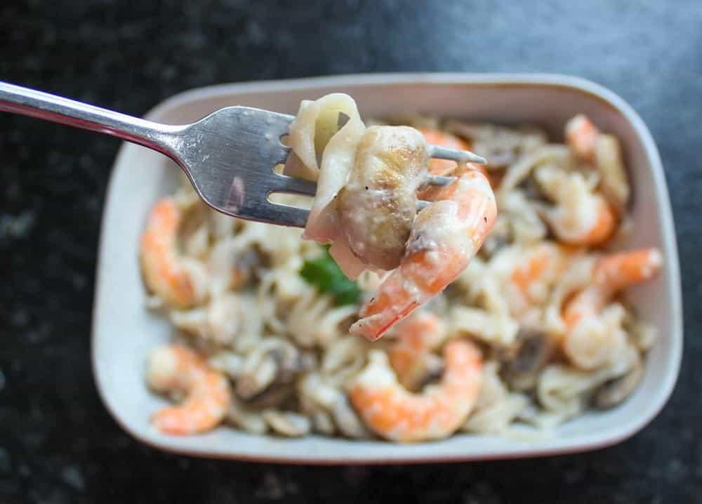 Low Carb Shrimp Alfredo Fettuccine with Tofu Shirataki Noodles