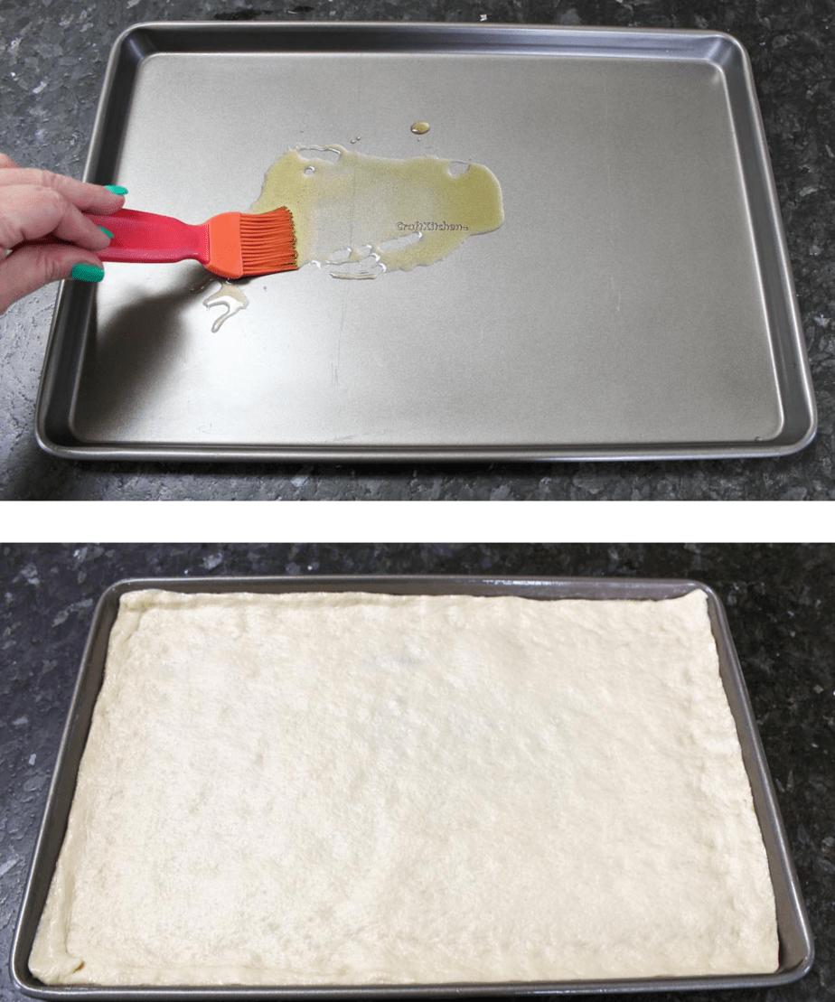 Spread dough onto baking sheet or pizza pan