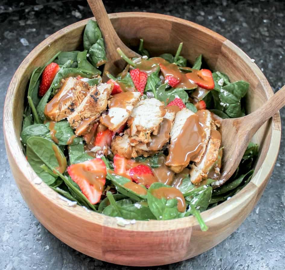 Strawberry Goat Cheese Salad with Spinach & Balsamic Dressing